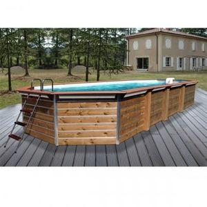 Christaline - piscine bois octogonale allonge classique gold 890 - Pool Mit Holzumrandung