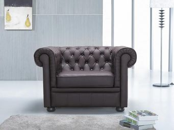 BELIANI - fauteuil en cuir chesterfield brun - Chesterfield Sessel