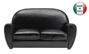WHITE LABEL - canapé club 2 places en cuir vachette noir brillan - Clubsofa