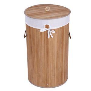 WHITE LABEL - panier corbeille à linge 57 l bambou - Wäschekorb