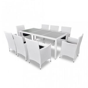 WHITE LABEL - salon de jardin avec table + 8 chaises - Garten Esszimmer