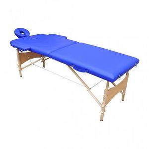 WHITE LABEL - table de massage 2 zones bleu - Massagetisch