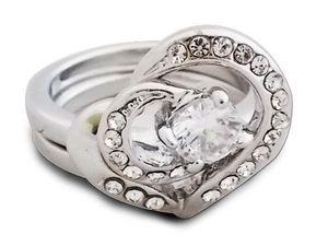 WHITE LABEL - bague fantaisie argentée en forme de c?ur avec des - Ring