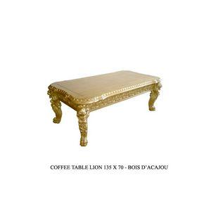 DECO PRIVE - table basse baroque en bois doré modèle lion - Rechteckiger Couchtisch