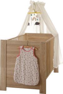 WHITE LABEL - lit bébé 70x140 coloris chêne sonoma - Baby Reisebett