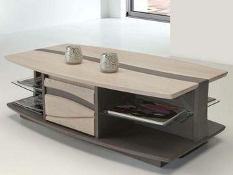 Ateliers De Langres - table basse avec niches oceane - Rechteckiger Couchtisch