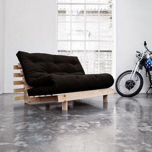 WHITE LABEL - canapé bz style scandinave roots futon noir coucha - Schlafsofa
