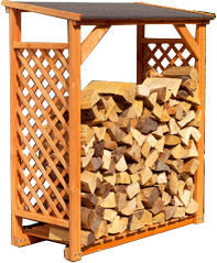 Ideanature - abri bûches miel en bois 119x148x69cm - Kaminholzregal