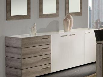 WHITE LABEL - buffet 3 portes 4 tiroirs - irys - l 235 x l 48 x - Anrichte