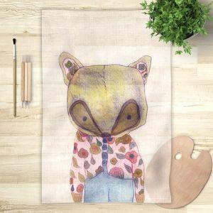 la Magie dans l'Image - foulard mon petit renard rose - Vierecktuch