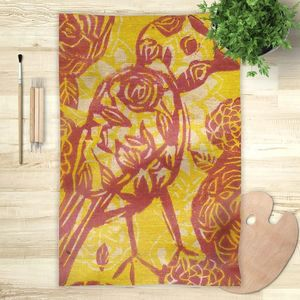 la Magie dans l'Image - foulard oiseau batik jaune - Vierecktuch