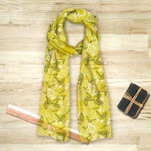 la Magie dans l'Image - foulard pivoines moutarde - Vierecktuch