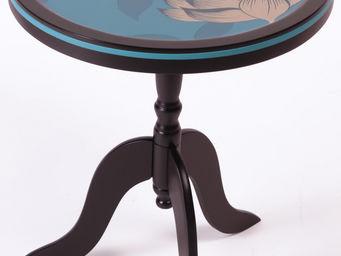 RELOADED DESIGN - mini table turquoise flowers - small - Sockeltisch