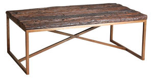 Aubry-Gaspard - table basse en acier cuivré et bois massif - Rechteckiger Couchtisch