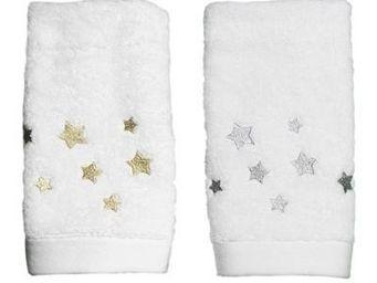 Liou - serviette invités etoiles or & argent - Gästehandtuch