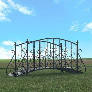 CHEMIN DE CAMPAGNE - grand pont passerelle fer metal de jardin ruisseau - Garten Brücke