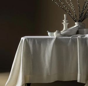 BLANC CERISE - ,délices de lin- - Rechteckige Tischdecke