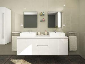 WHITE LABEL - ensemble double vasque lavita - Doppelwaschtisch Möbel