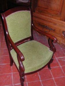 Antiquites Le Vieux Moulin - fauteuil à crosse louis philippe - Sessel Mit Volutenarmlehnen