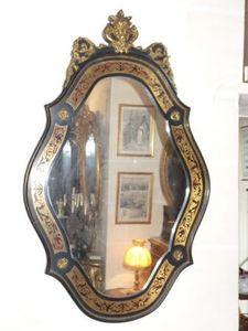 Art & Antiques - miroir ovale napoléon iii en marqueterie boulle - Spiegel