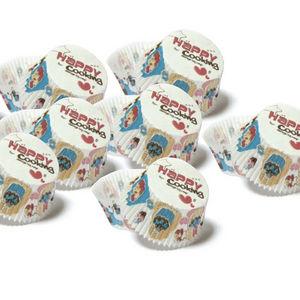WHITE LABEL - 3 paquets de 48 moules de cuisson en papier décoré - Kuchenform