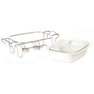 WHITE LABEL - plat en céramique sur support en inox couvercle va - Bratschüssel