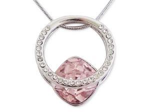 WHITE LABEL - collier pendentif bague avec strass et pierre rose - Kette