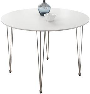 COMFORIUM - table design ovale 100 cm coloris blanc mat - Runder Esstisch