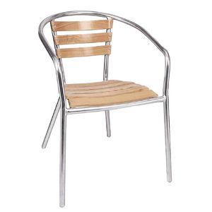 COMFORIUM - lot de 4 chaises empilables en aluminium et frêne - Gartensessel