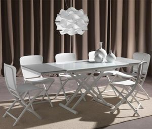 WHITE LABEL - table basse relevable extensible happening blanc p - Klappbarer Couchtisch