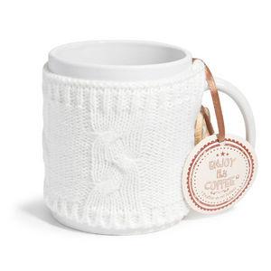 MAISONS DU MONDE - mug en faïence blanc lain - Mug