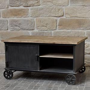 CHEMIN DE CAMPAGNE - table basse de salon à roulettes bois fer industri - Rechteckiger Couchtisch