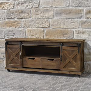 CHEMIN DE CAMPAGNE - meuble télé tv industriel campagne en bois fer 140 - Hifi Möbel