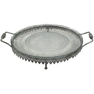 CHEMIN DE CAMPAGNE - grand plateau serviteur en fer et verre ø33 cm - Tablett
