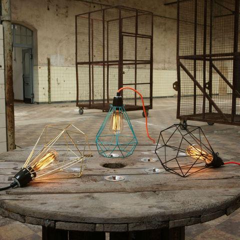 Filament Style - Deckenlampe Hängelampe-Filament Style-DIAMOND 1 - Suspension Or câble Noir Ø18cm   Lampe