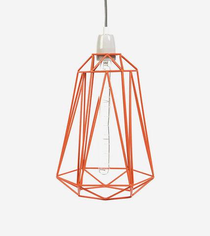 Filament Style - Deckenlampe Hängelampe-Filament Style-DIAMOND 5 - Suspension Orange câble Gris Ø18cm | L