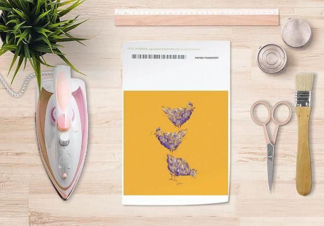 la Magie dans l'Image - Verlegung-la Magie dans l'Image-Papier transfert Poules Orange