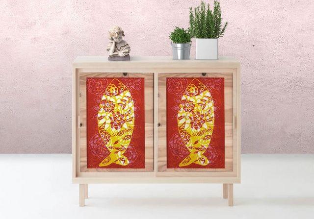 la Magie dans l'Image - Sticker-la Magie dans l'Image-Adhésif Poisson Batik rouge