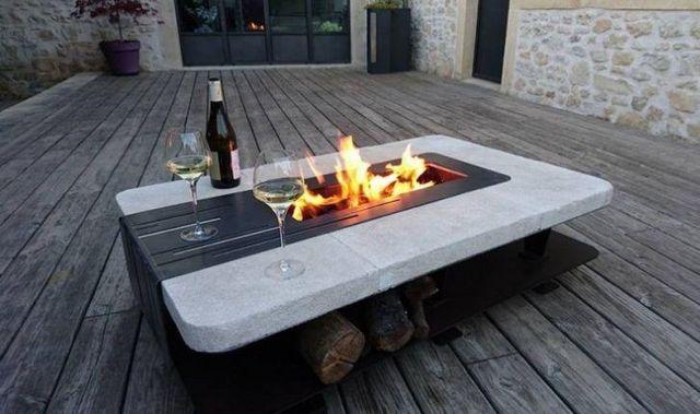 CLF creation - Tisch mit Feuerstelle-CLF creation-BRASERO DE TERRASSE
