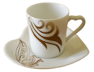 PORCELAINE CLAUDIE FRANEL - Kaffeetasse-PORCELAINE CLAUDIE FRANEL-Paire tasse coeur