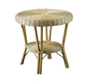 Aubry-Gaspard - table basse en moelle de rotin naturelle et manau  - Mesa Auxiliar