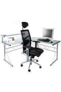 KOKOON DESIGN - bureau informatique modulable en verre teinté blan - Escritorio
