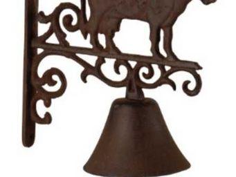 Antic Line Creations - cloche de jardin vache en fonte 26,5x20,5x5cm - Campana De Exterior