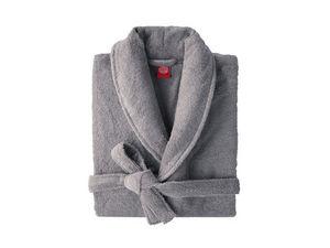 BLANC CERISE - peignoir col châle - coton peigné 450 g/m² gris - Albornoz