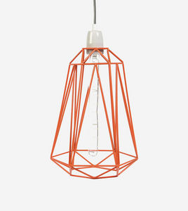 Filament Style - diamond 5 - suspension orange câble gris ø18cm | l - Lámpara Colgante