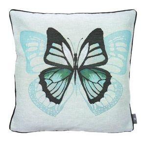 Art De Lys - un papillon, fond bleu - Cojín Cuadrado
