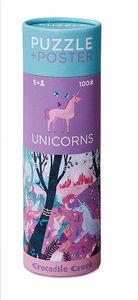 BERTOY - 100 pc puzzle & poster unicorns - Rompecabezas Niño