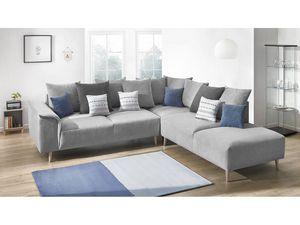 BOBOCHIC - canapé grand angle london gris angle droit - Sofá De Esquina