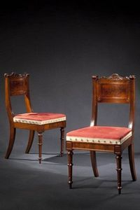 CARSWELL RUSH BERLIN - pair of carved walnut dining chairs - Silla