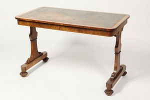 3details - a rare regency walnut library table by gillows - Mesa Auxiliar